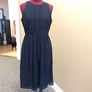 Embroidered zipper back formal dress